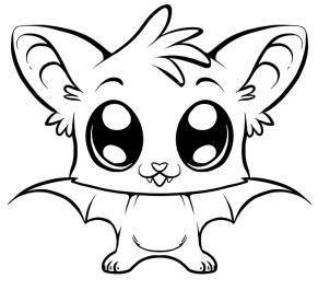 302x276 Big Animals Eyes Coloring Pags How To Draw A Cute Bat, Step By