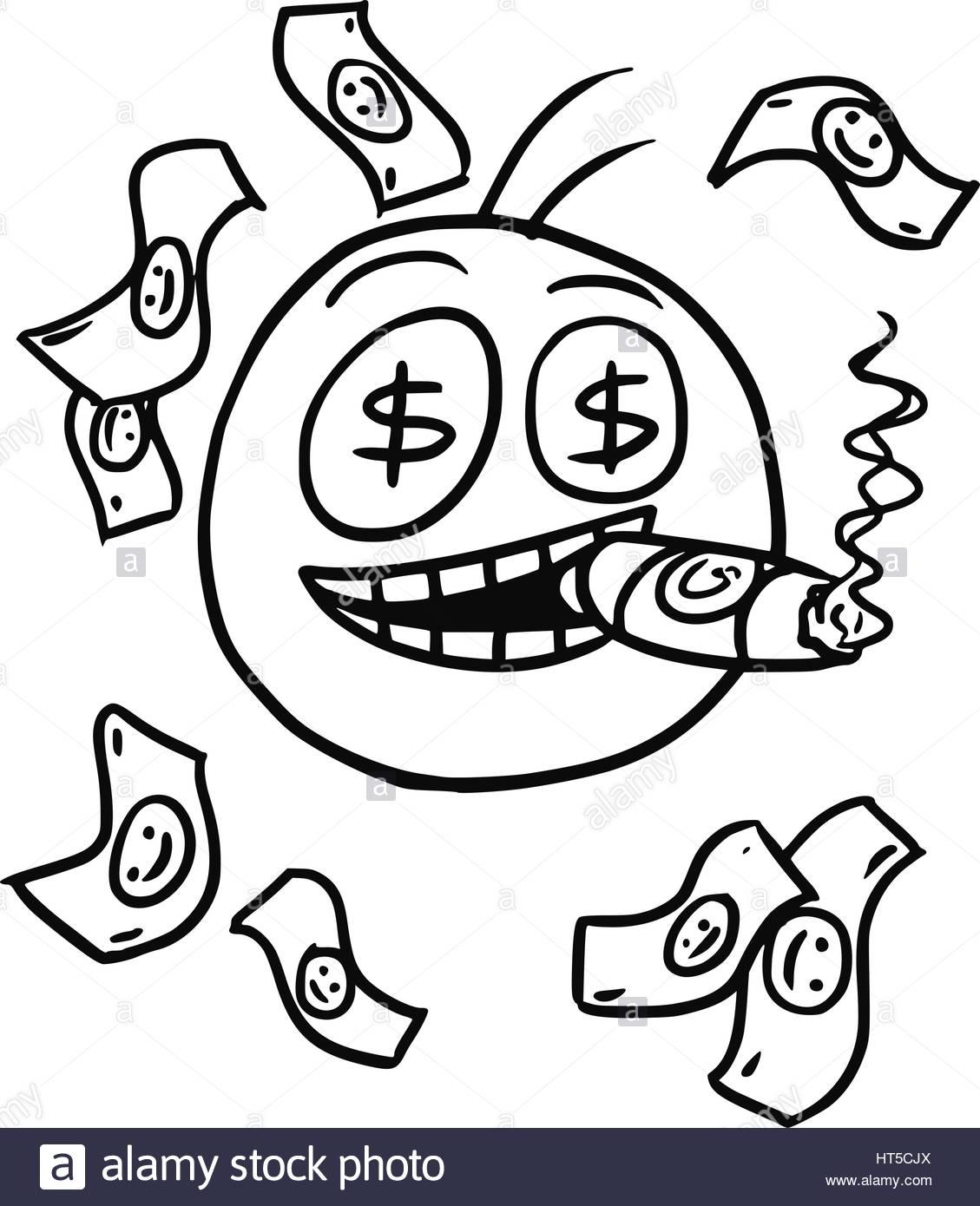 1129x1390 Cartoon Vector Of Smiling Stickman With Big Cigar,dollar Sign