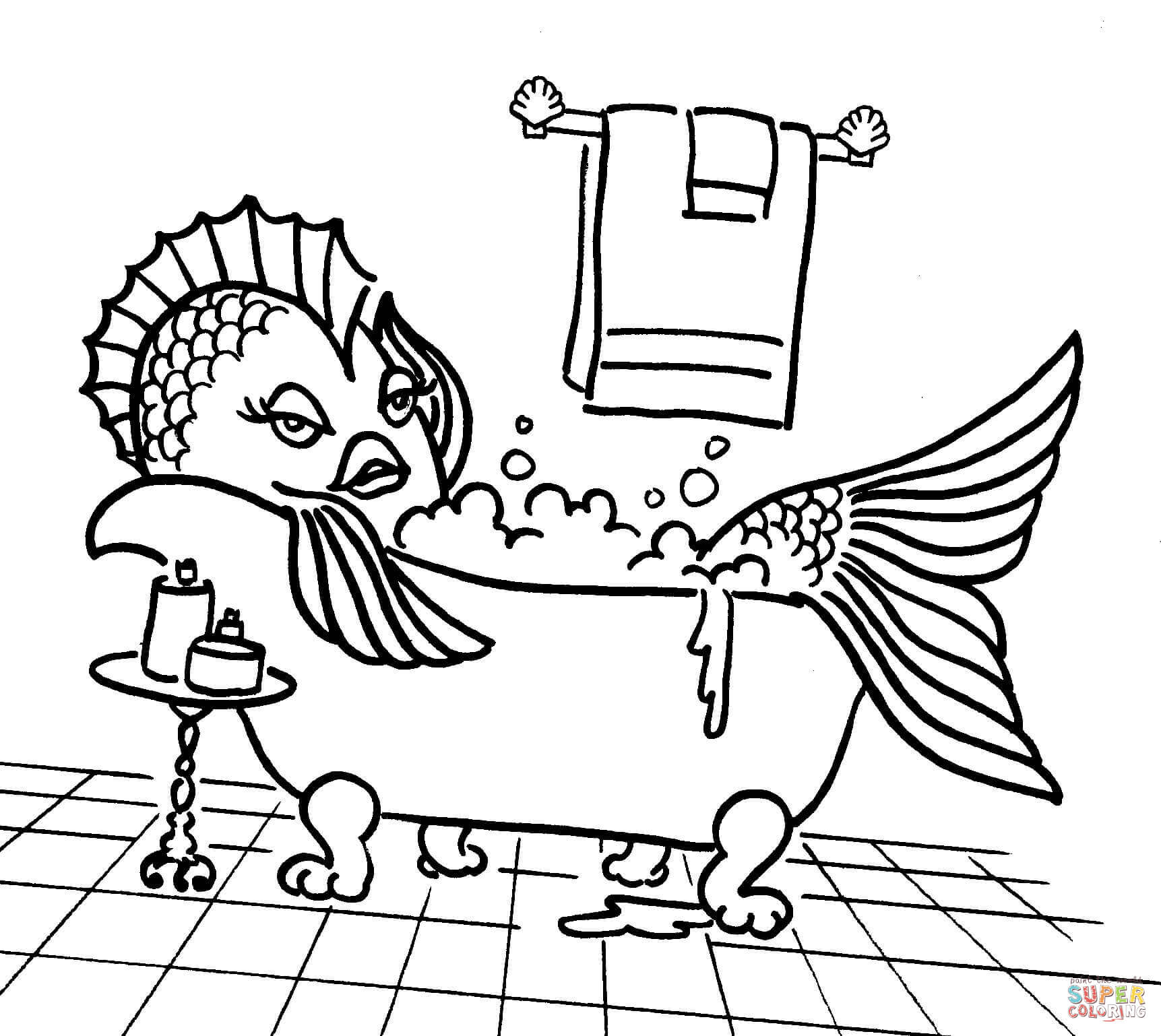 Cartoon Drawing Of Fish At Free For Personal Use Fuse Box 1723x1538 In The Tub Coloring Page Printable Pages