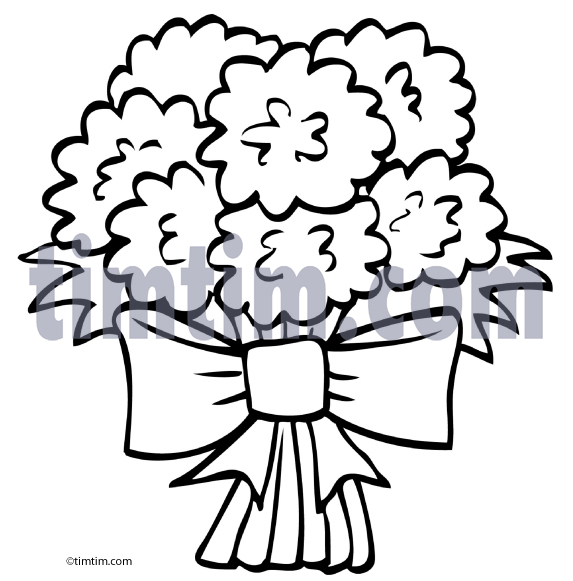 573x581 Free Drawing Of Flower Bouquet BW From The Category Building Home