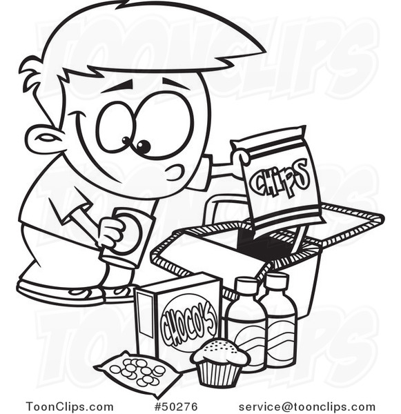 581x600 Cartoon Black And White Boy Packing Junk Food Into A Picnic Basket