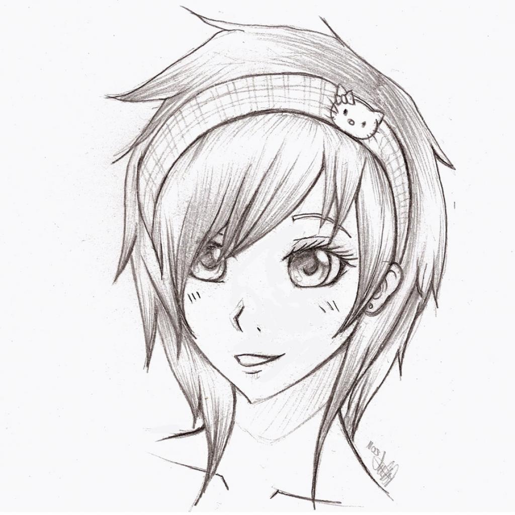 1024x1024 Cartoon Sketches Of Cute Girls Sketch Of Cute Cartoon Girl