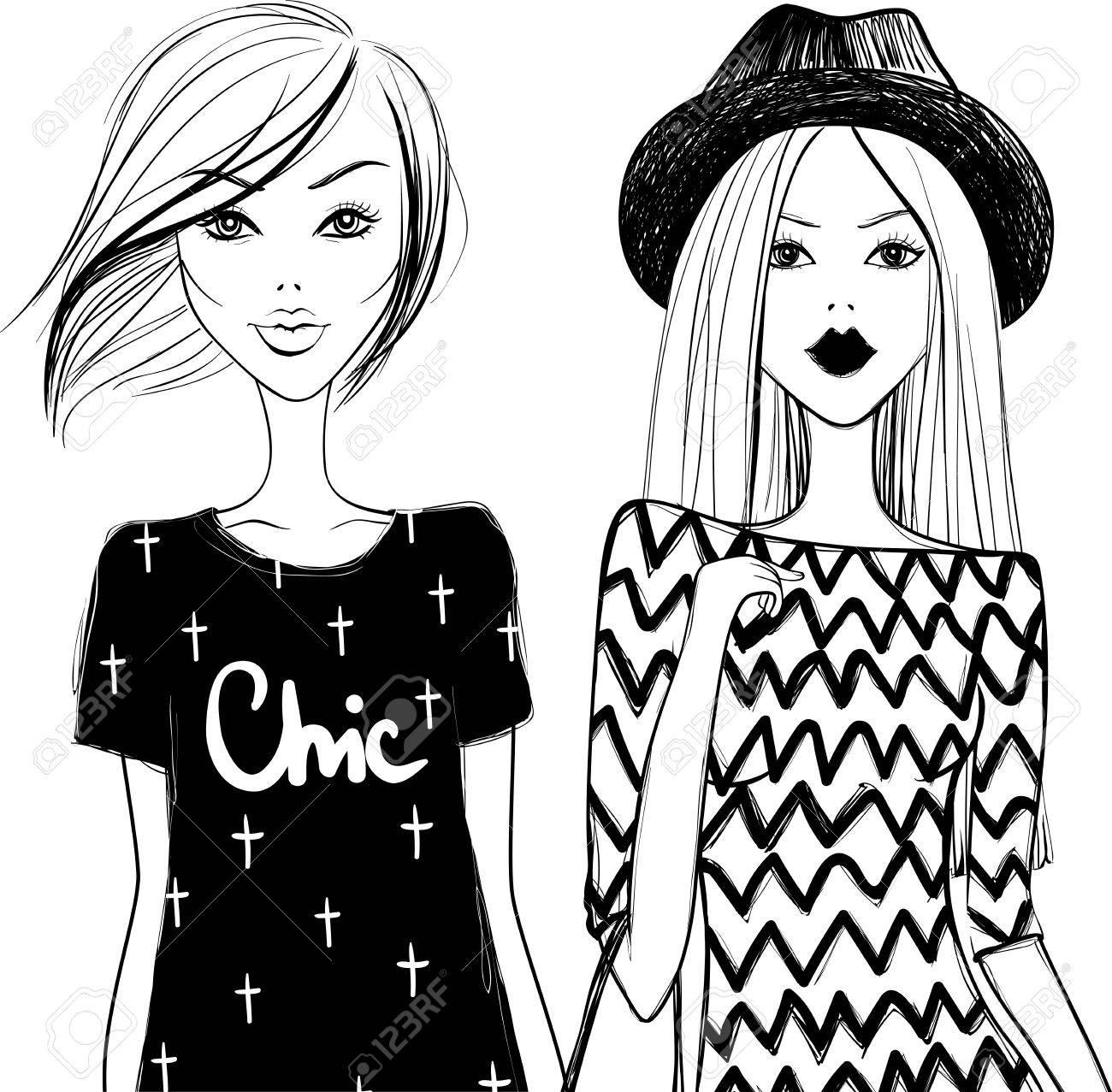 1300x1277 Cute Fashion Girls. Stylish Woman. Vector Girls. Young Girl