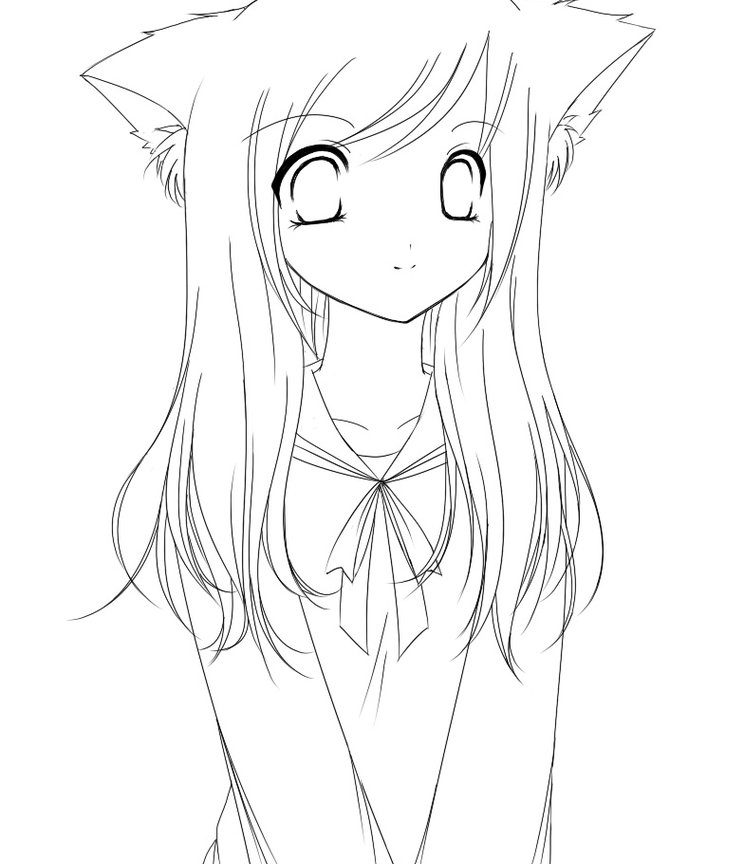 744x864 Best Of Anime Girl Coloring Pages Free Printable Cartoons Cat