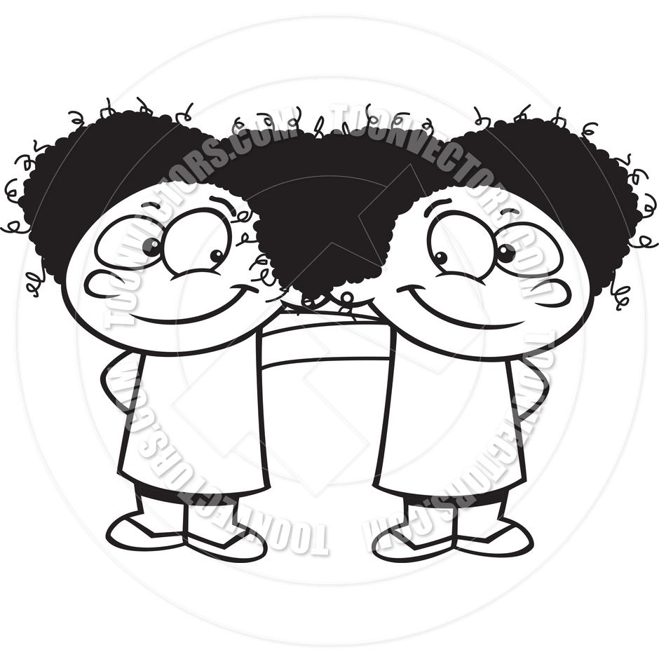 940x940 Cartoon Best Friend Girls (Black Amp White Line Art) By Ron Leishman