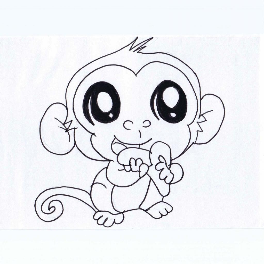 1023x1024 Cute Monkey Drawings Cute Drawings Of Monkeys Cute Monkey Cartoon
