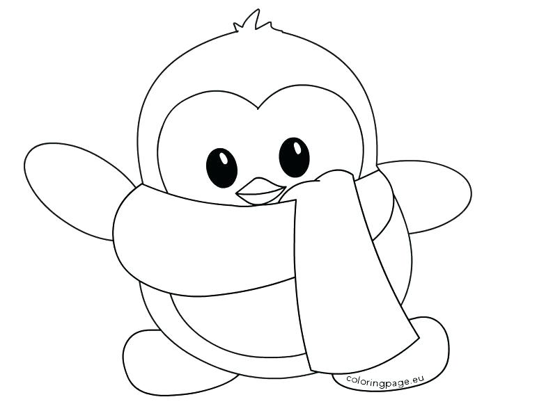 penguin coloring pages for kids - cartoon drawing of penguin at free for