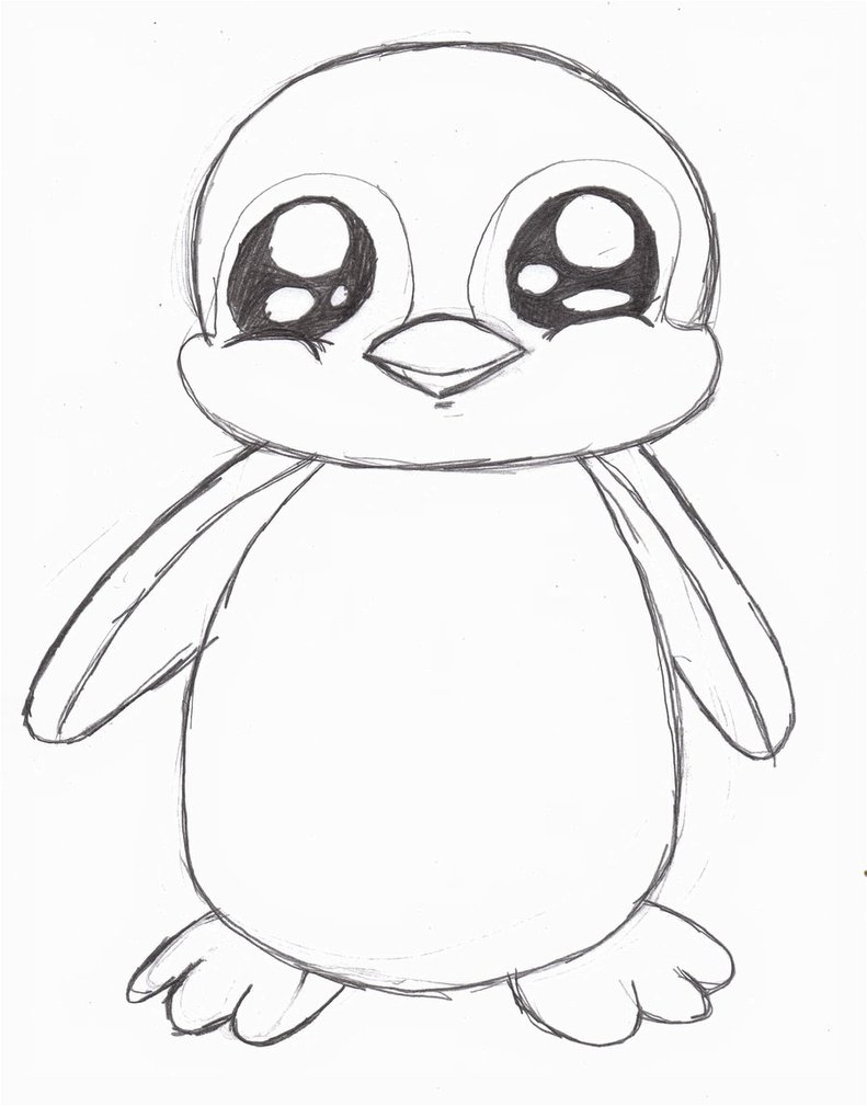 Line Drawings Of Cute Animals : Cartoon drawing of penguin at getdrawings free for