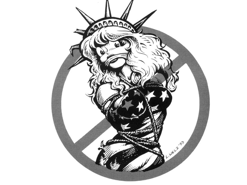 1024x768 Drawn Statue Of Liberty Gun