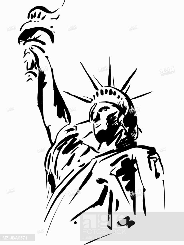 699x931 A Black And White Sketch Of The Statue Of Liberty, Stock Photo