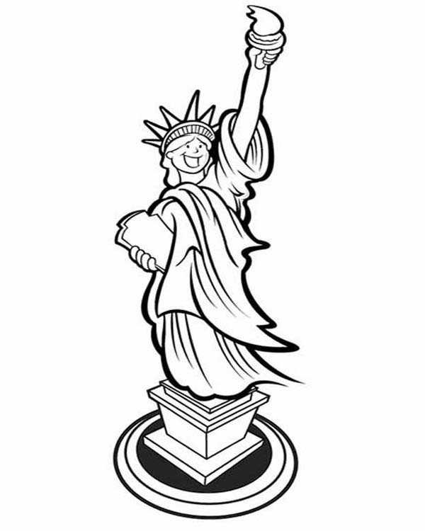 600x750 Picture Of Laughing Statue Of Liberty Coloring Page