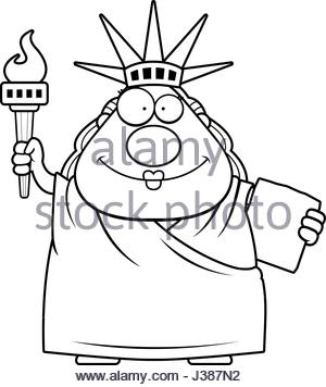 300x356 A Cartoon Illustration Of The Statue Of Liberty Looking Surprised
