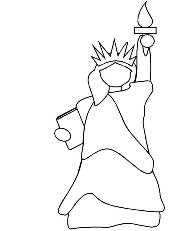 600x750 Statue Of Liberty Outline Coloring Page