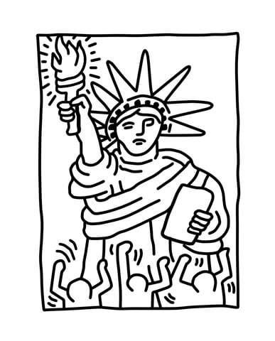 387x480 Statue Of Liberty By Keith Haring Coloring Page Free Printable
