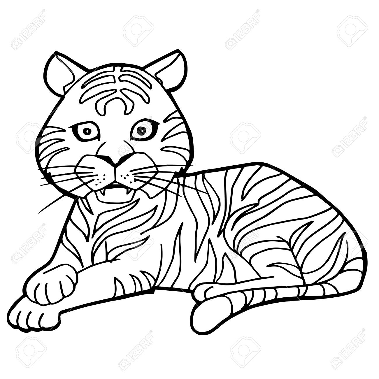 cartoon drawing of tiger at getdrawings com free for personal use