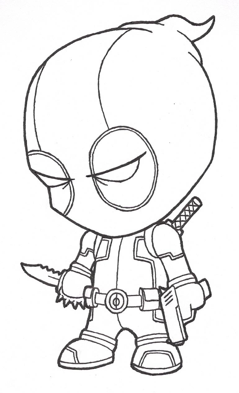 770x1263 Deadpool Cartoon Drawing Cool Easy Cartoon Drawings Drawings