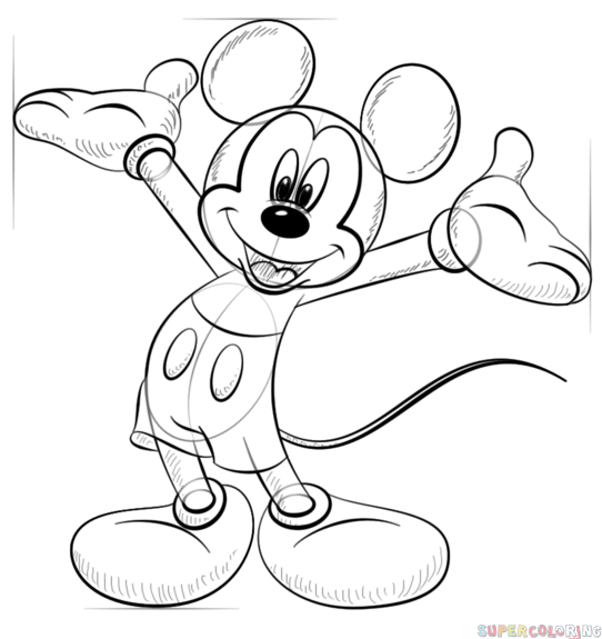 542x575 How To Draw Mickey Mouse Step By Step Drawing Tutorials