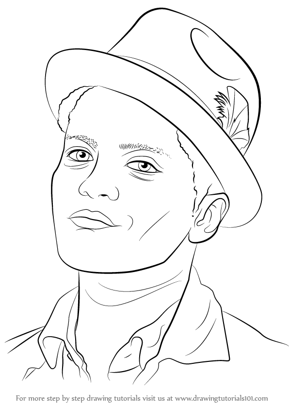 596x842 Learn How To Draw Bruno Mars (Singers) Step By Step Drawing