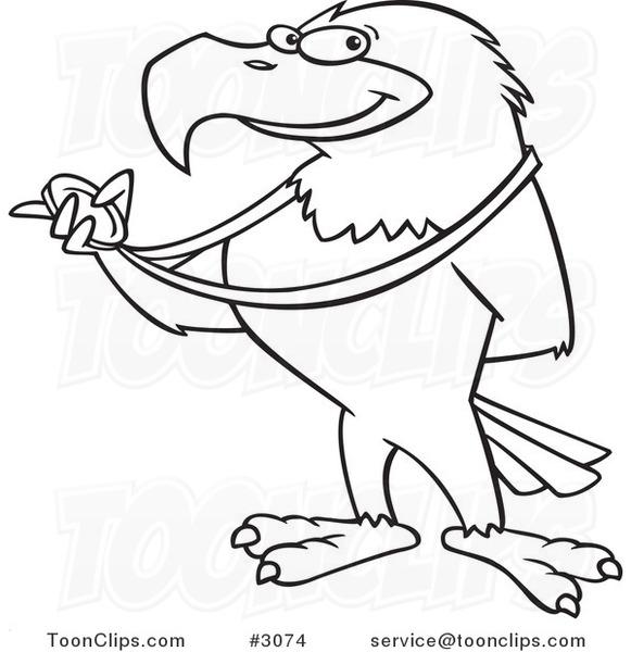 581x600 Cartoon Blacknd White Line Drawing Of Bald Eagle Holding