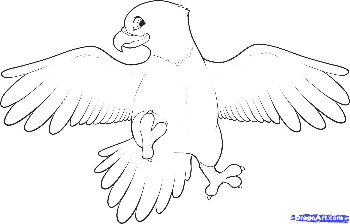 1398x896 Cartoon Eagle Drawing How To Draw An Easy Eagle, Stepstep, Birds