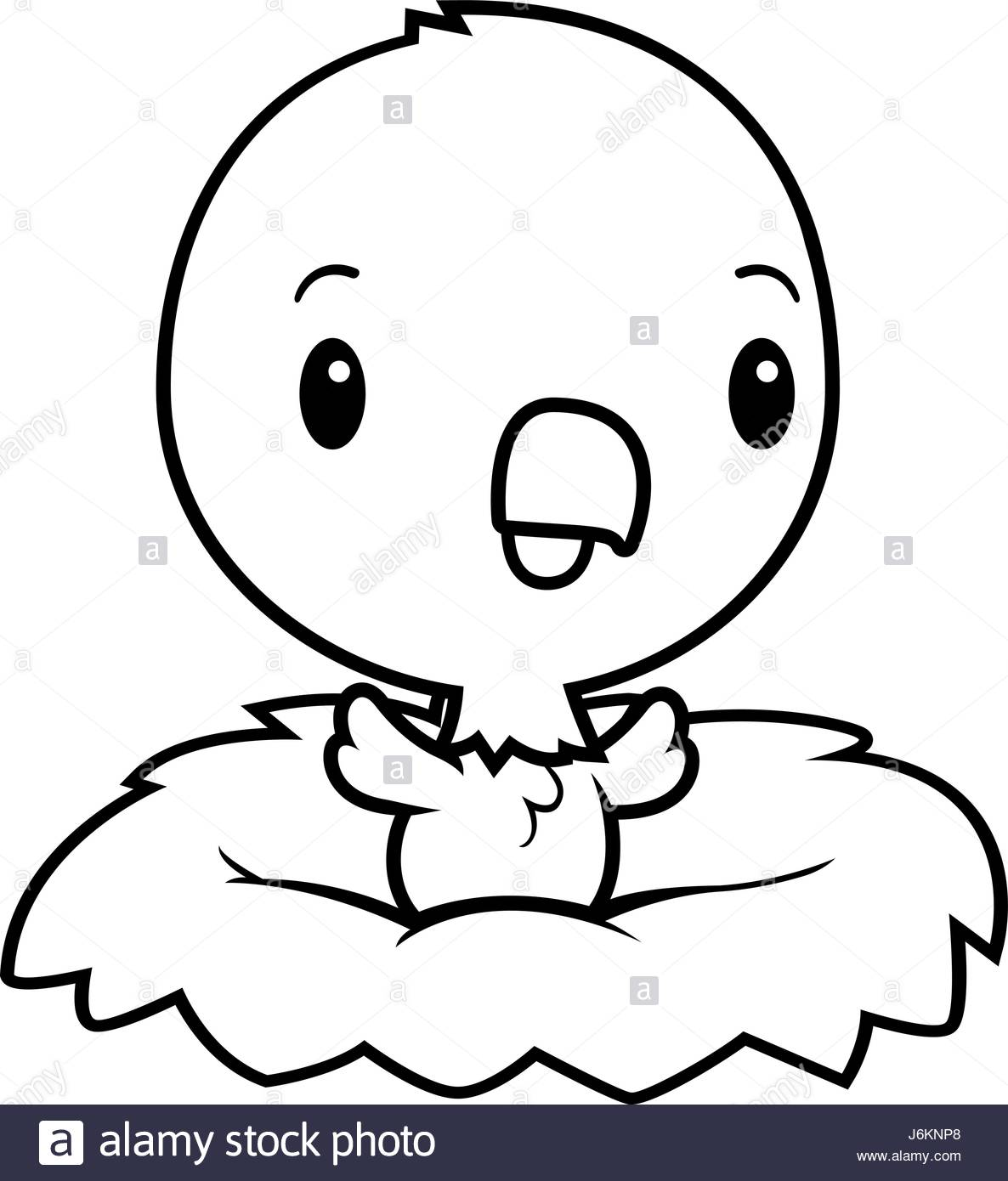 1186x1390 A Cartoon Illustration Of A Baby Eagle In A Nest Stock Vector Art