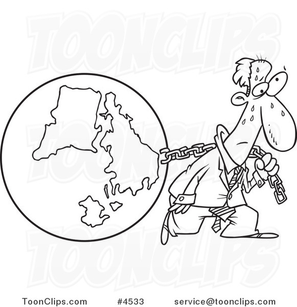 581x600 Cartoon Black And White Line Drawing Of A Business Man Pulling