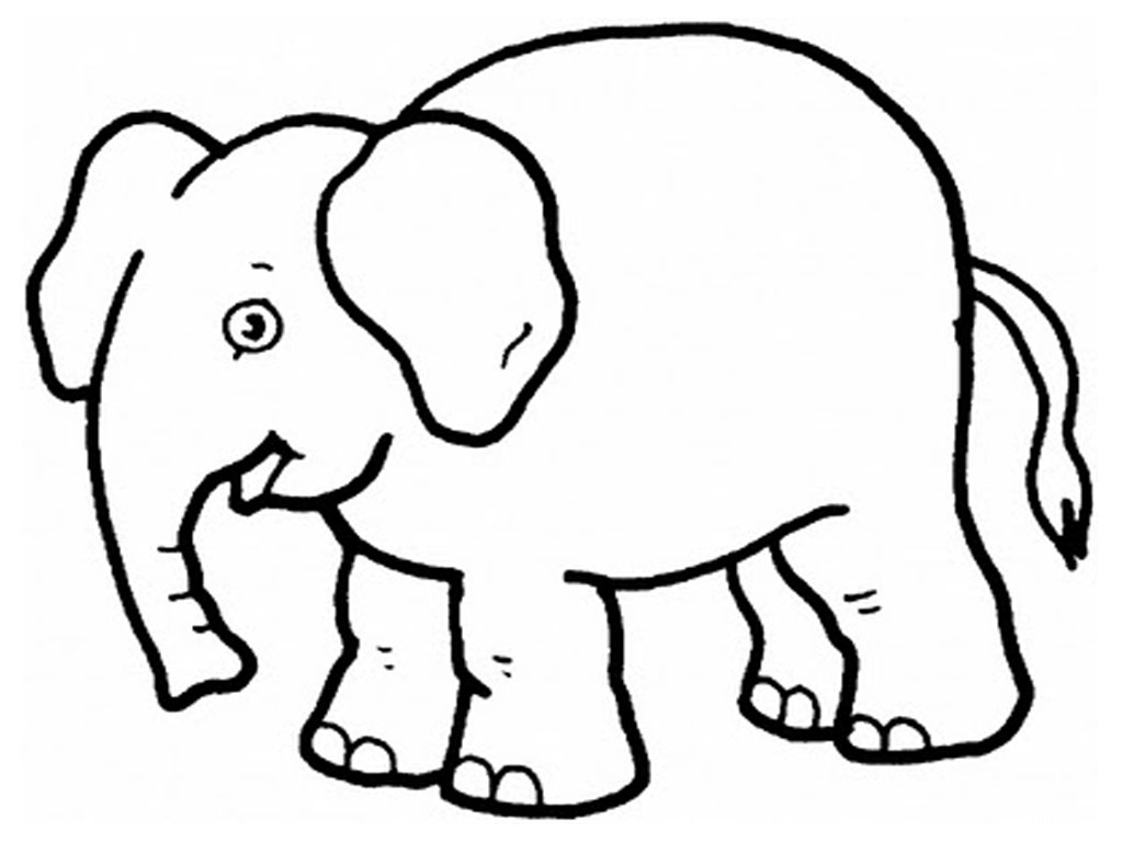 1024x768 Cartoon Elephant Coloring Pages