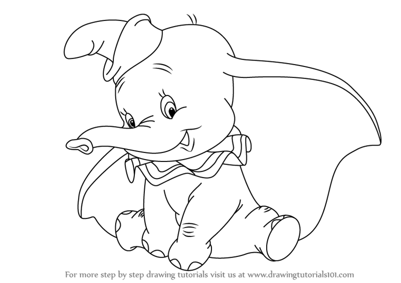 800x566 Learn How To Draw Dumbo Elephant From Dumbo (Dumbo) Step By Step