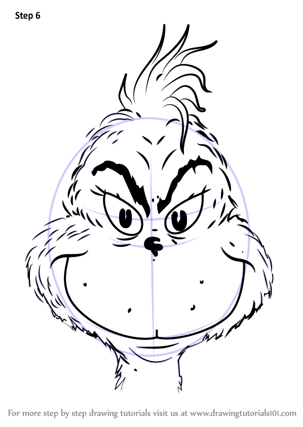 598x844 Learn How To Draw The Grinch Face (Grinch) Step By Step Drawing