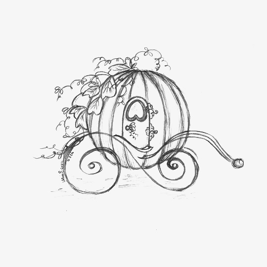 540x540 Cartoon Sketch Pumpkin Carriage, The Pumpkin Carriage, Cinderella