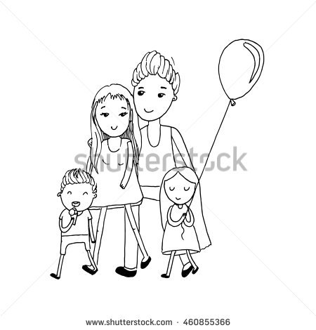 450x470 Drawn Child Family