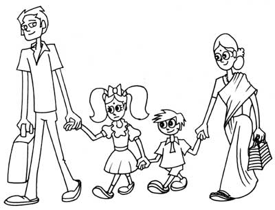 400x306 Family Walk Ink Drawing Artist Sundar Gallery