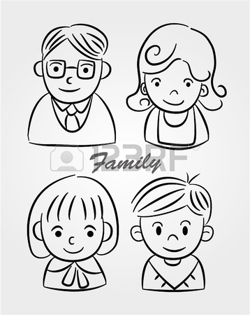 358x450 Hand Draw Cartoon Family Icon Royalty Free Cliparts, Vectors,