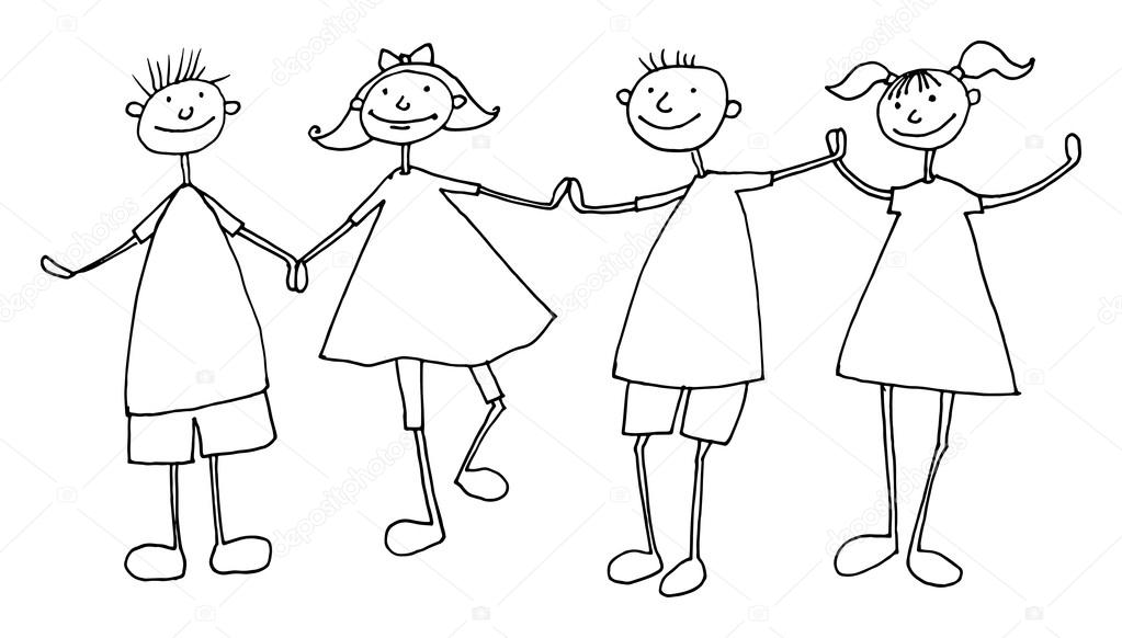 1023x582 Hand Draw Cartoon Family Stock Vector Fla