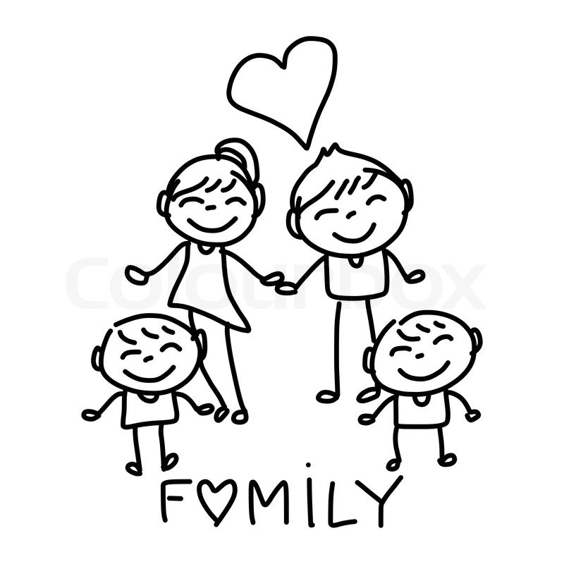 800x800 Hand Drawing Cartoon Character Happy Family Stock Vector Colourbox