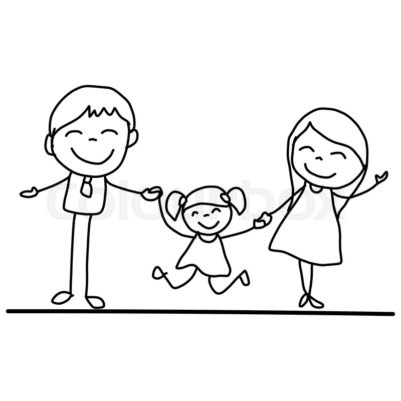 800x800 Hand Drawing Cartoon Happy Young Family Vector Illustation Stock