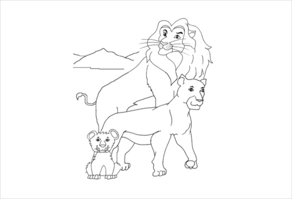 585x400 Lion Drawing Template Free Pdf Documents Download Free