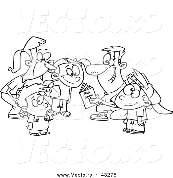 600x620 Vector Of A Happy Cartoon Family Huddling Together While Going