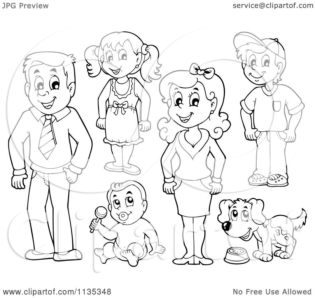 1080x1024 Cartoon Of An Outlined Family People And A Dog