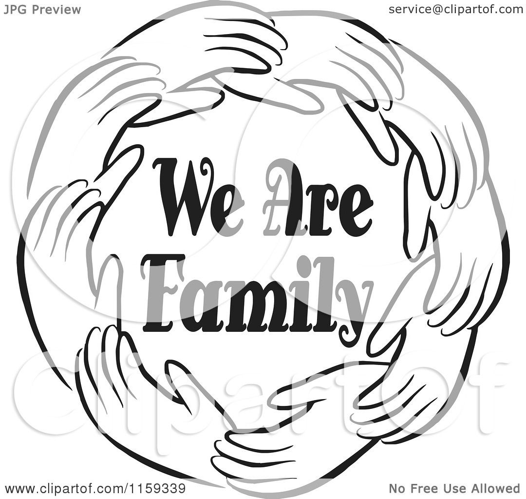 1080x1024 Cartoon Of A Black And White Circle Of Hands Around We Are Family