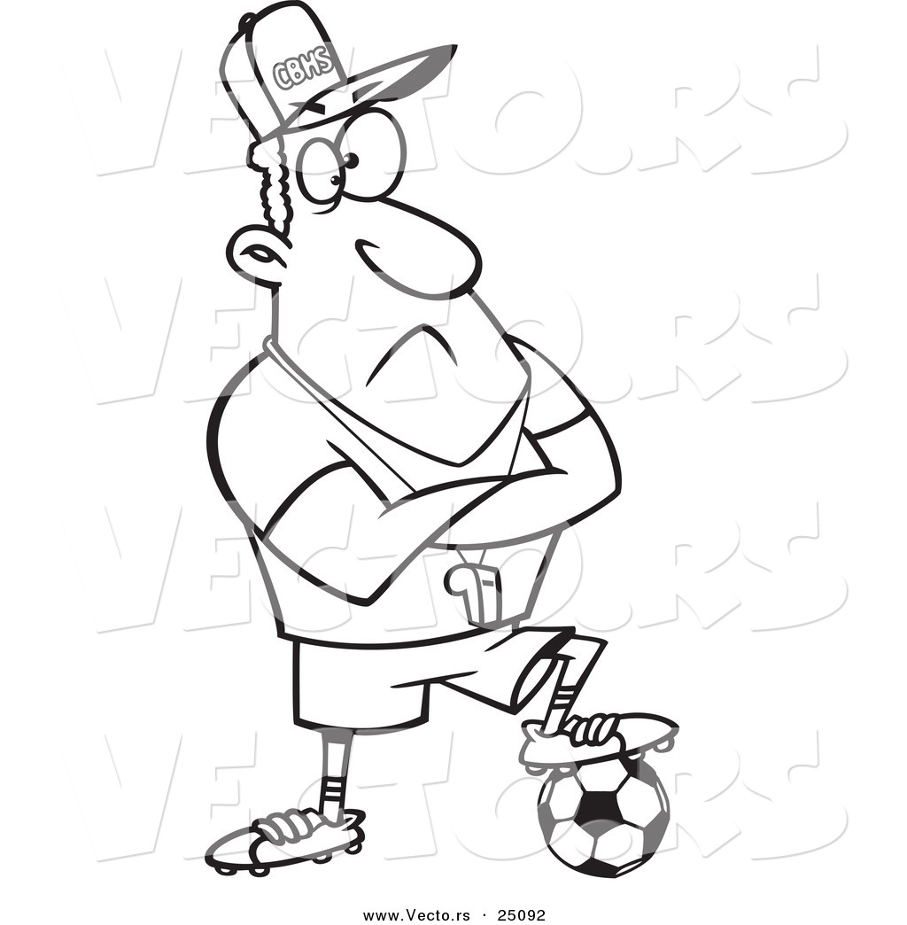 1024x1044 Vector Of A Cartoon Coach Man Resting A Foot On A Soccer Ball