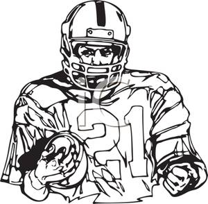300x294 Black And White Cartoon Of A Football Player Carrying A Football