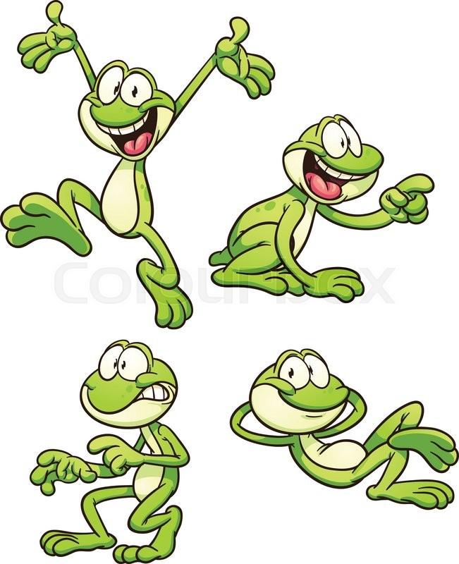 651x800 Cartoon Frog In Different Poses. Vector Clip Art Illustration