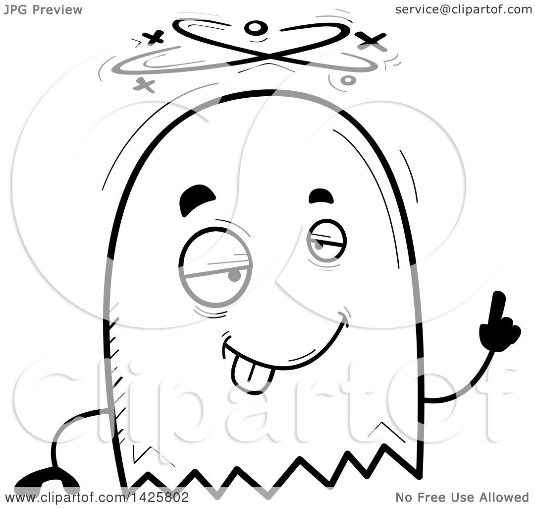 1080x1024 Clipart Of A Cartoon Black And White Doodled Drunk Ghost