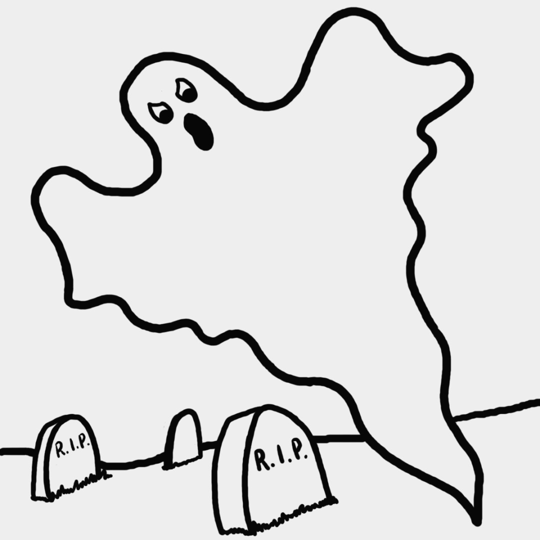 1080x1080 New Cartoon Ghost Coloring Pages
