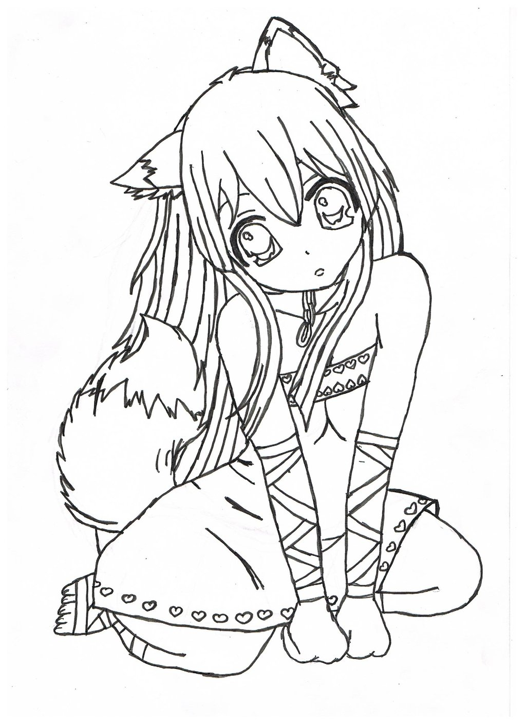 1024x1408 Coloring Anime Pages And Cute Girl Drawing