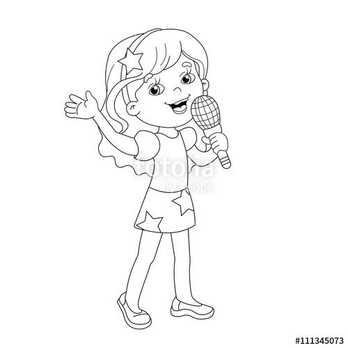 500x500 Coloring Page Outline Of Cartoon Girl Singing A Song Stock Image