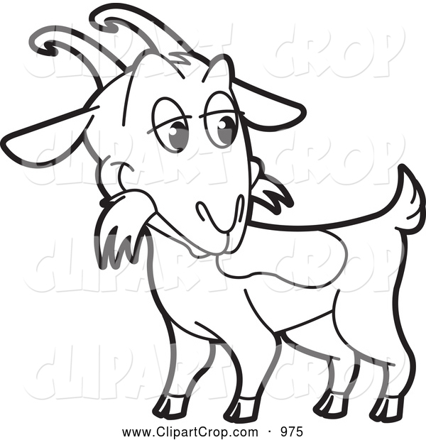 600x620 Clip Art Vector Of A Black And White Goat Clip Art