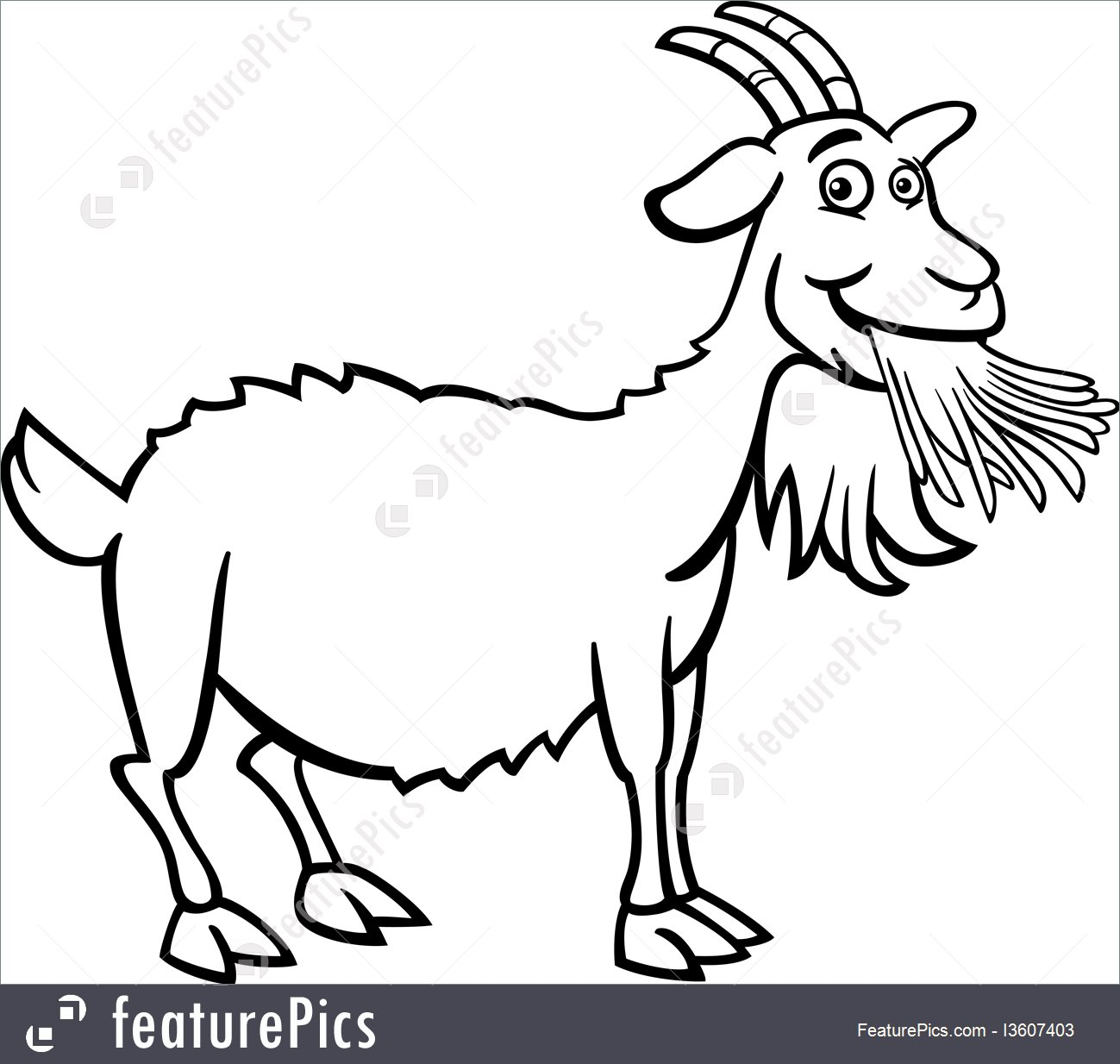 1299x1234 Domestic Animals Farm Goat Cartoon For Coloring Book
