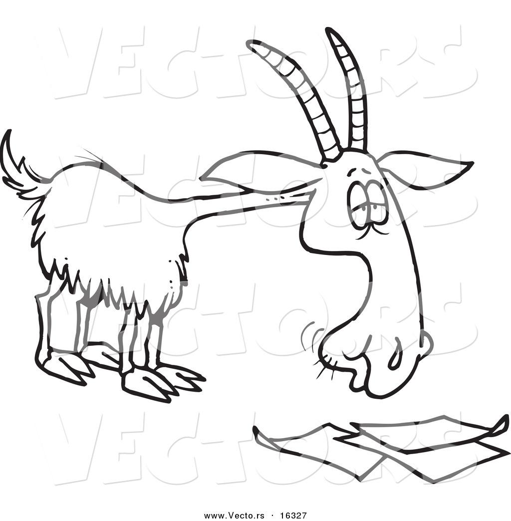 1024x1044 Vector Of A Cartoon Goat Eating Paperwork